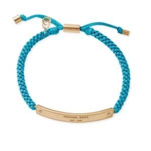 Blue Michael Kors Gold Logo Plaque Bracelet